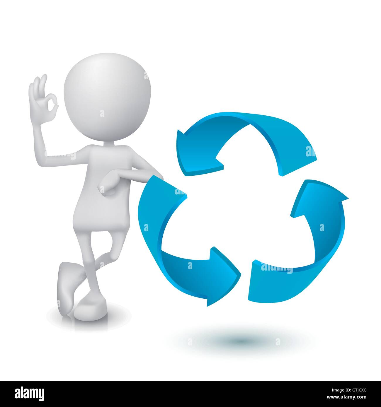3d Man Showing Okay Hand Sign With The Recycling Symbol Stock Vector