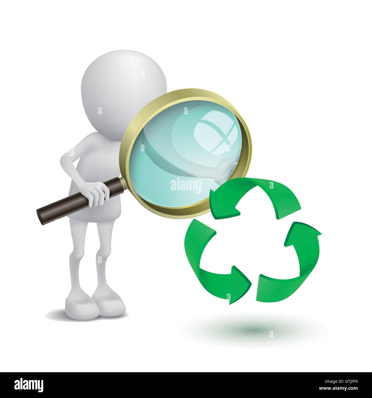 3d Person Watching The Recycling Symbol With A Magnifying Glass