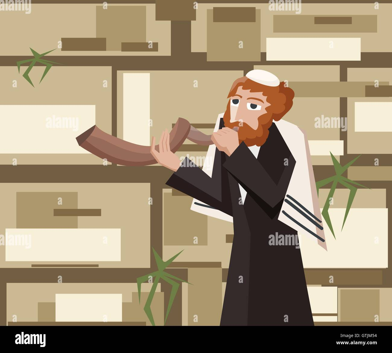 jew blowing the shofar at kotel - cartoon vector illustration - Stock Vector