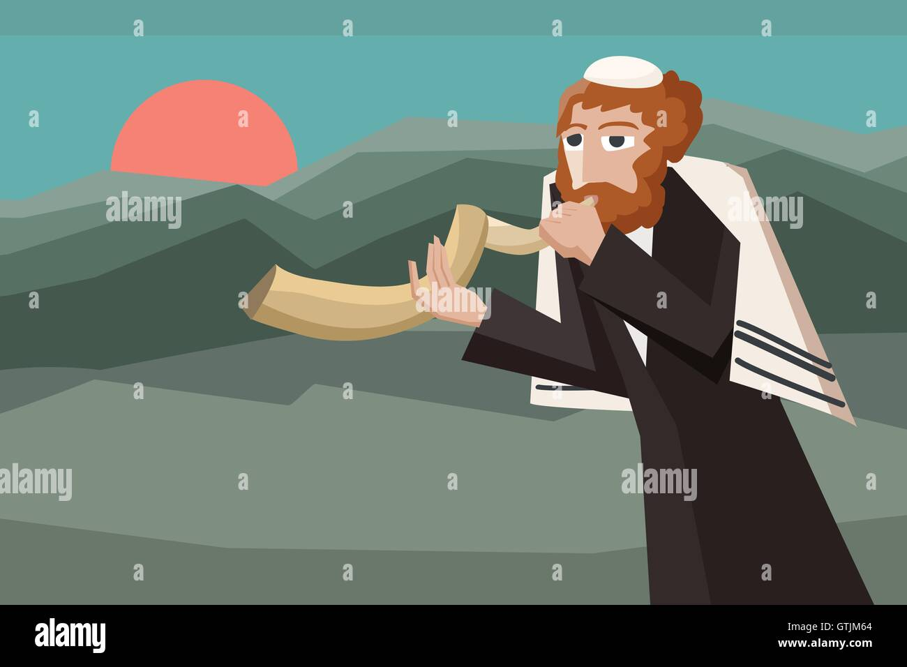 jew blowing the shofar - vector cartoon illustration for jewish holiday - Stock Vector