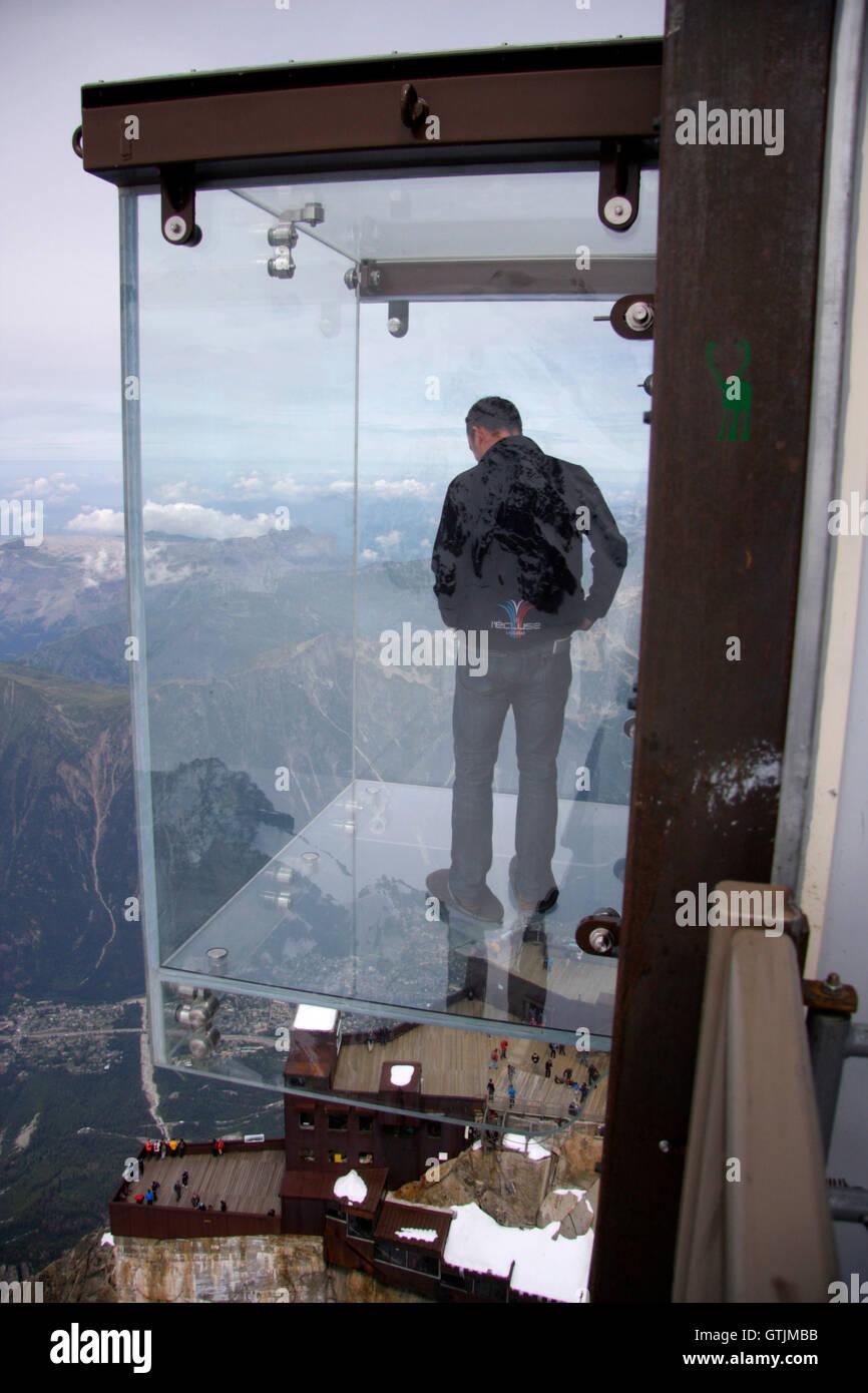 La Pas dans la Vide - Aiguille du Midi, Mont Blanc, Chamonix, Frankreich. - Stock Image