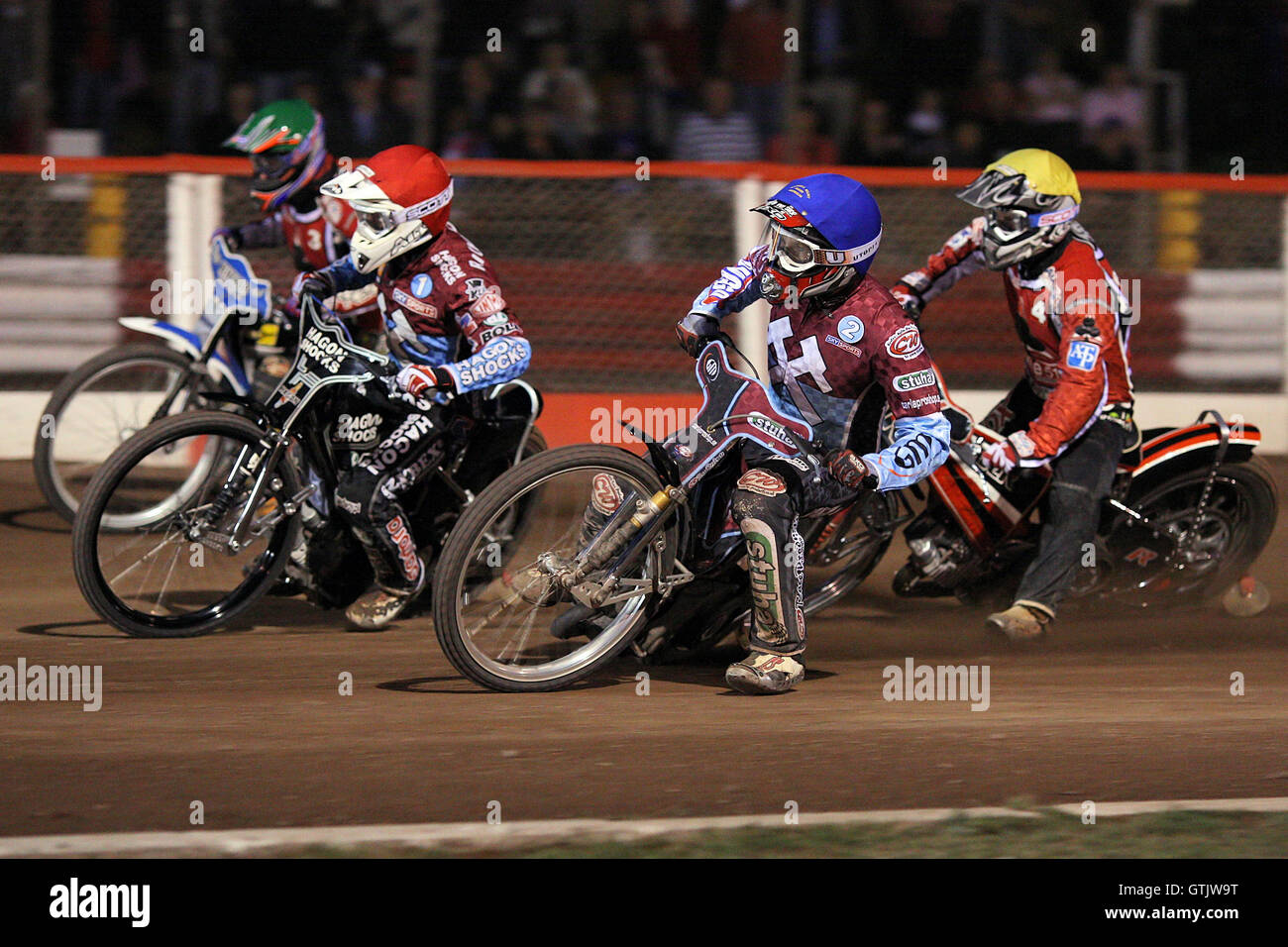 Heat 10: Lee Richardson (red), Partick Hougaard (green), Joonas Kylmakorpi (blue) and Morten Risager - Lakeside - Stock Image