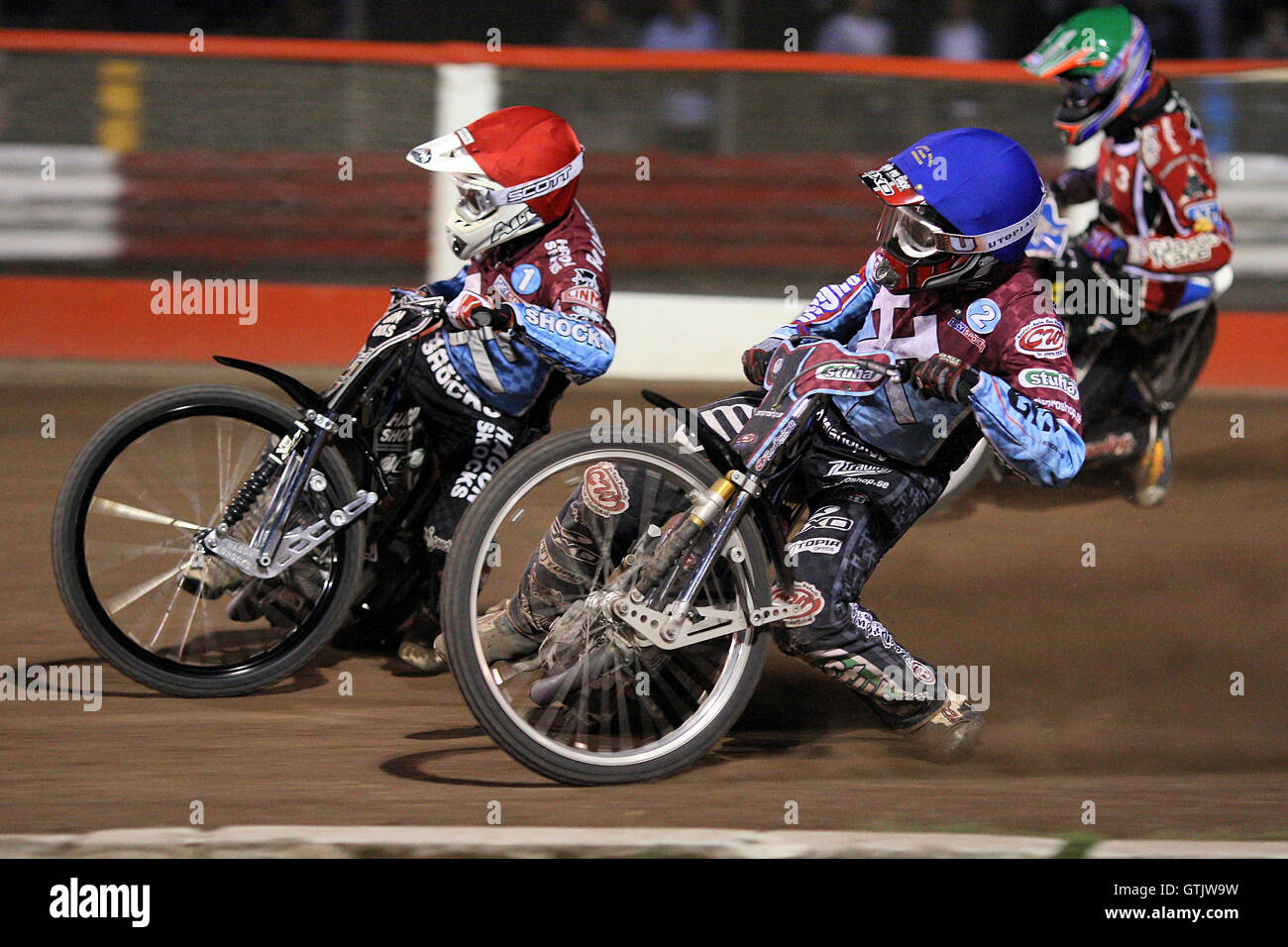 Heat 10: Lee Richardson (red), Partick Hougaard (green) and Joonas Kylmakorpi - Lakeside Hammers vs Belle Vue Aces - Stock Image