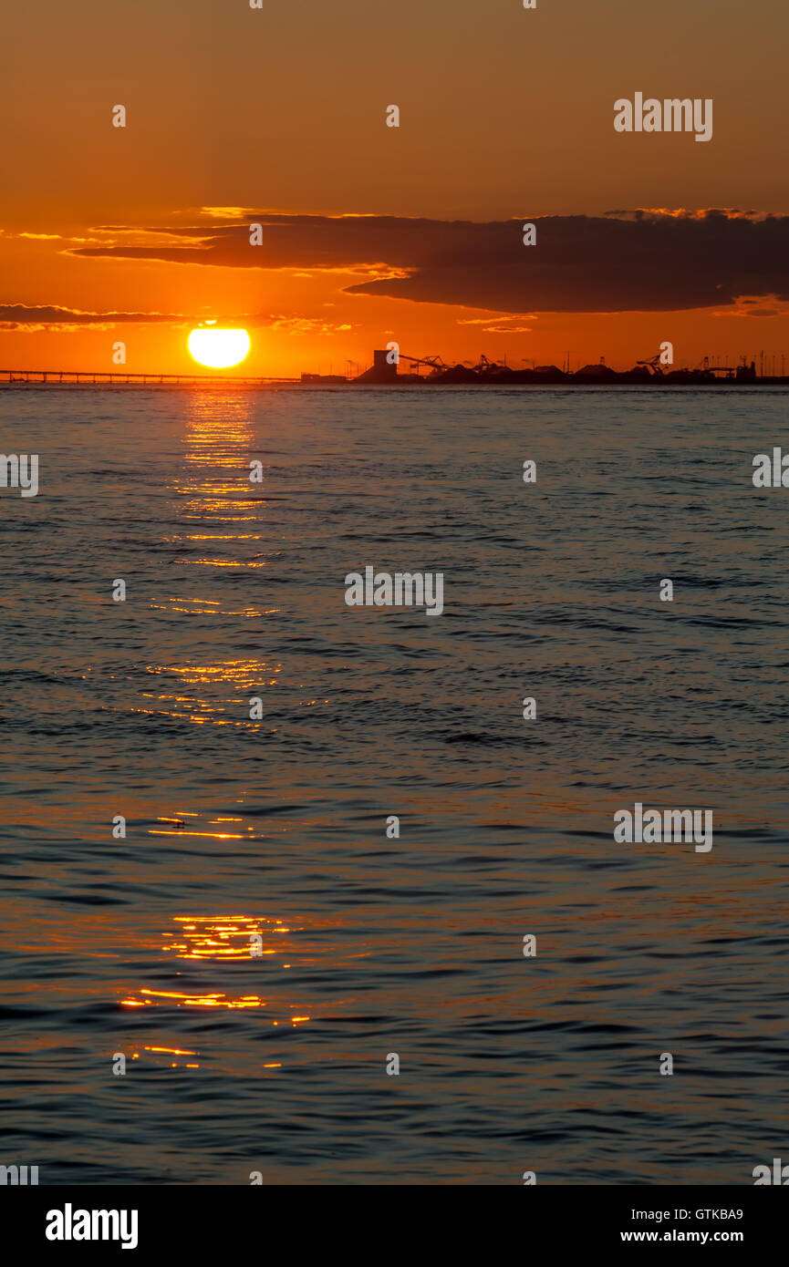 oil tankers at sunset in Point Roberts, Washington State, USA - Stock Image