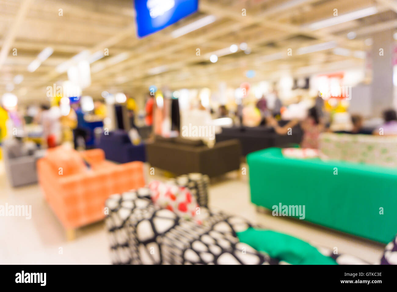 People Shopping Home Decor In Department Store Blur Store With