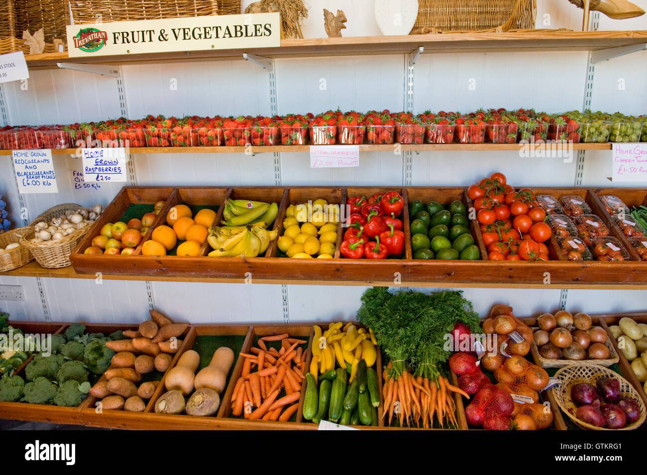 fruit and vegetables in a farm shop - Stock Image