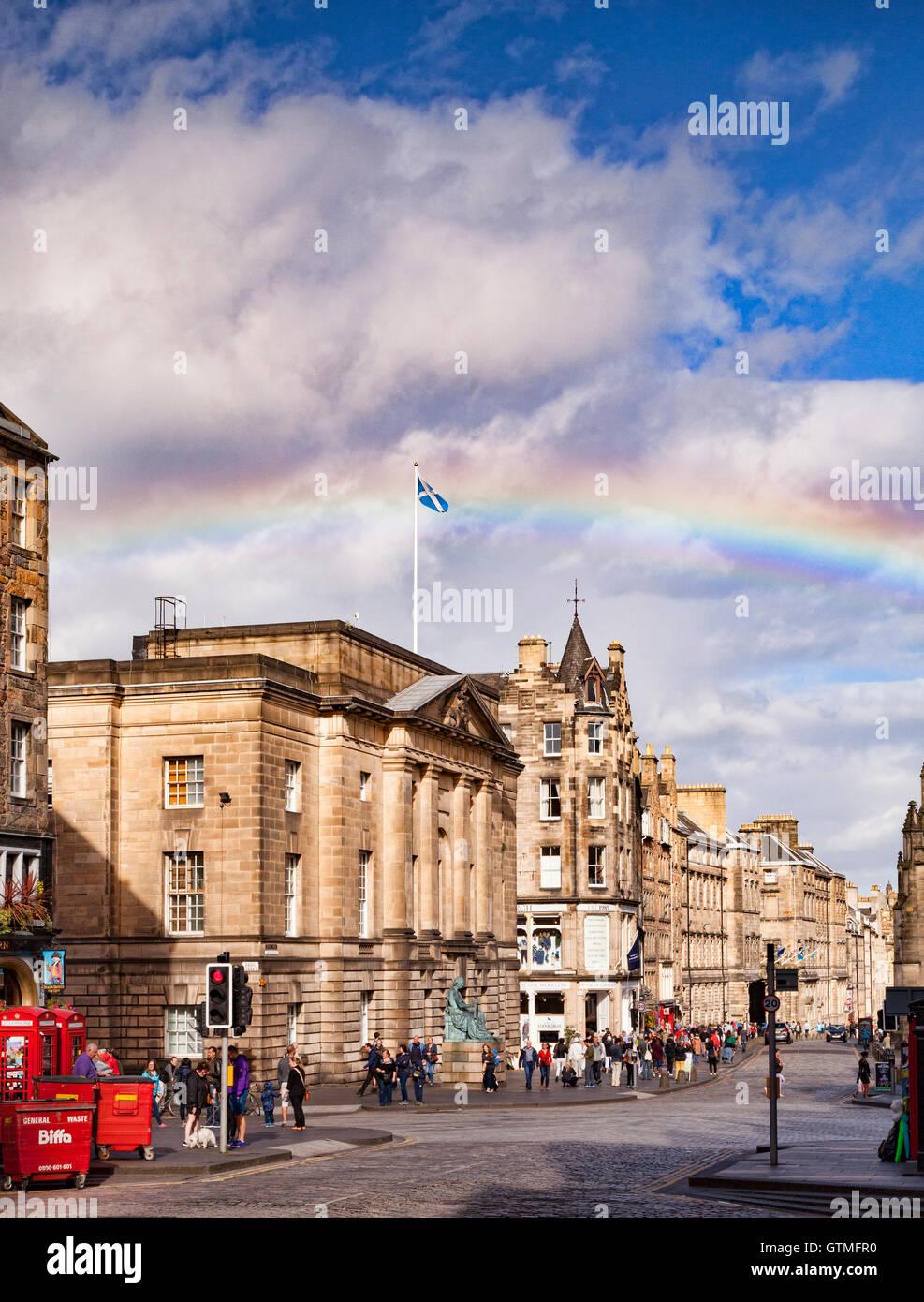 The Royal Mile, Edinburgh, with a rainbow, Scotland, UK Stock Photo