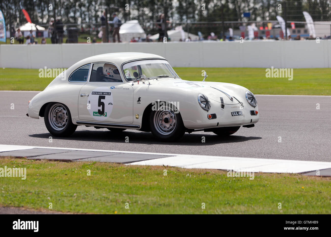 A  1957 Porsche 356, driven by Tom Pead during the qualifying session for the RAC Tourist Trophy for Historic Cars - Stock Image
