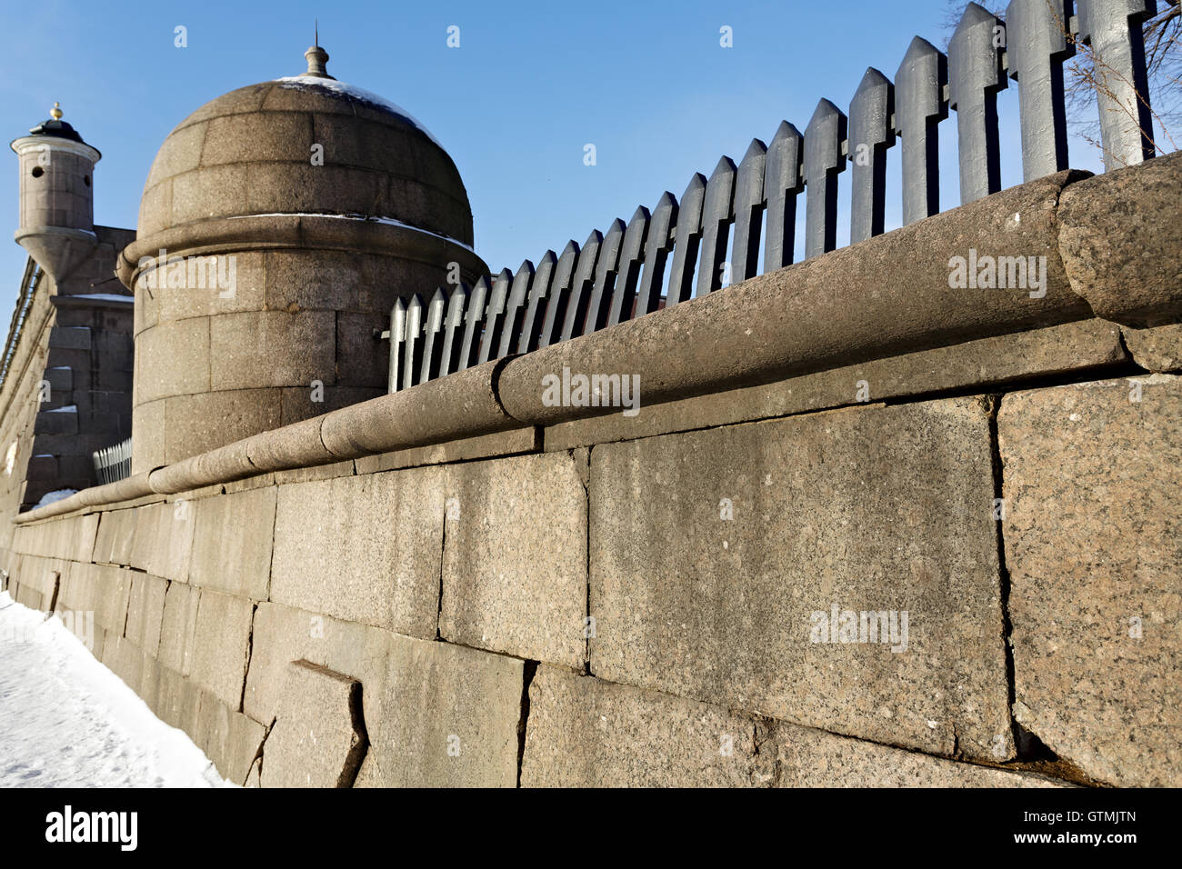 Granite Wall of Peter and Paul Fortress Stock Photo
