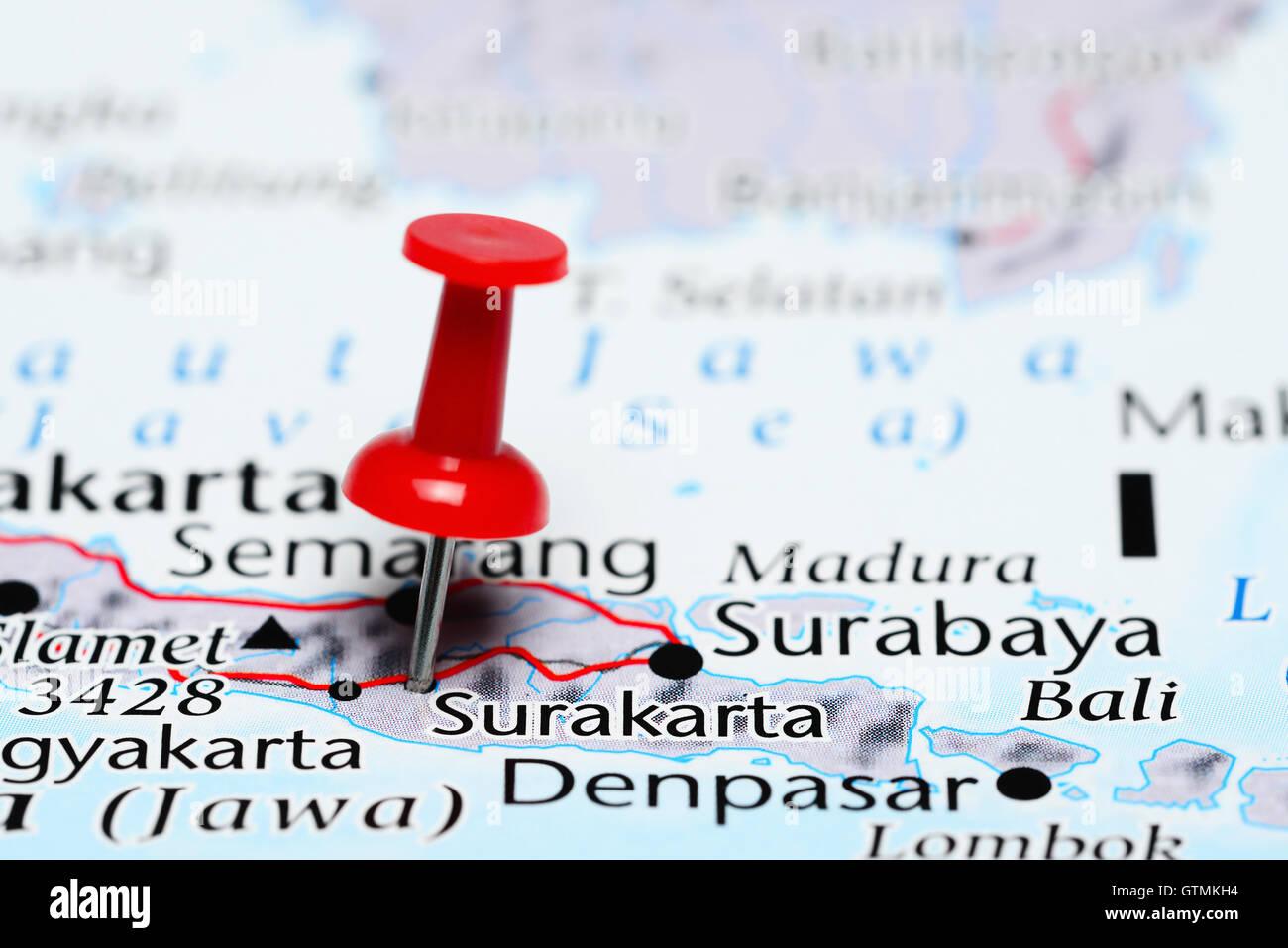 Surakarta pinned on a map of Indonesia Stock Photo: 118468368 - Alamy