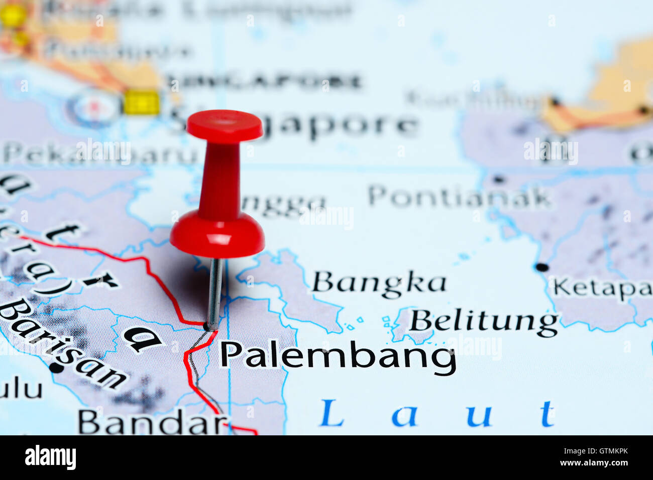 Palembang pinned on a map of Indonesia - Stock Image