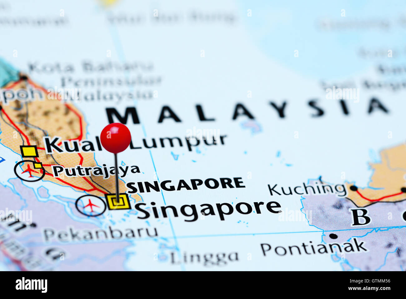 Singapore Pinned On A Map Of Asia Stock Photo Alamy