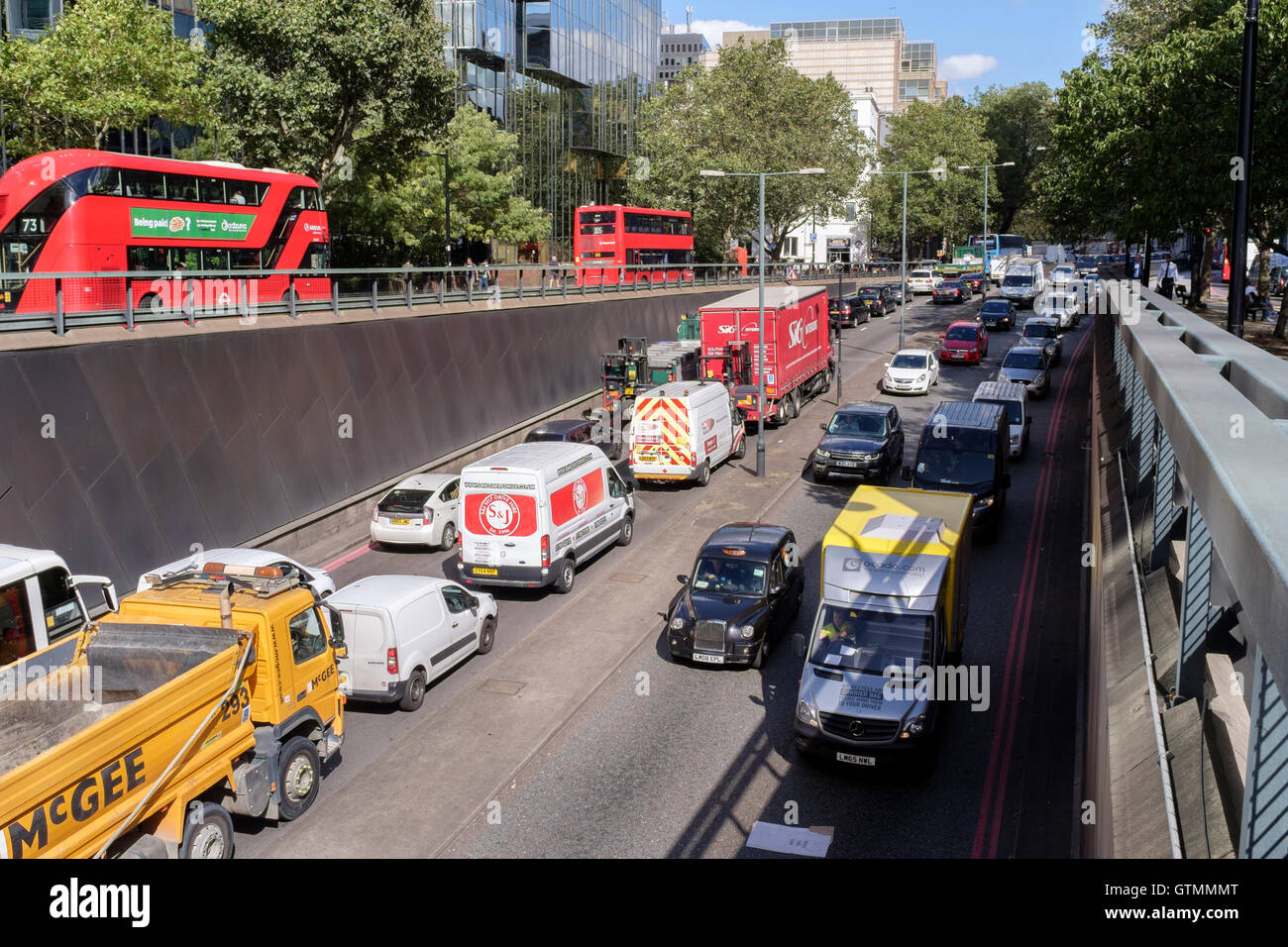 Traffic congestion in Euston Road underpass, London, UK - Stock Image
