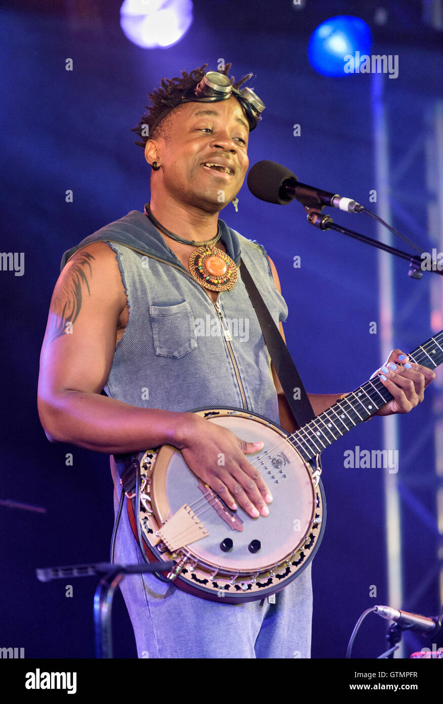 Blick Bassy performing at the WOMAD Festival, Charlton Park, Malmesbury, Wiltshire, England, July 29, 2016 Stock Photo