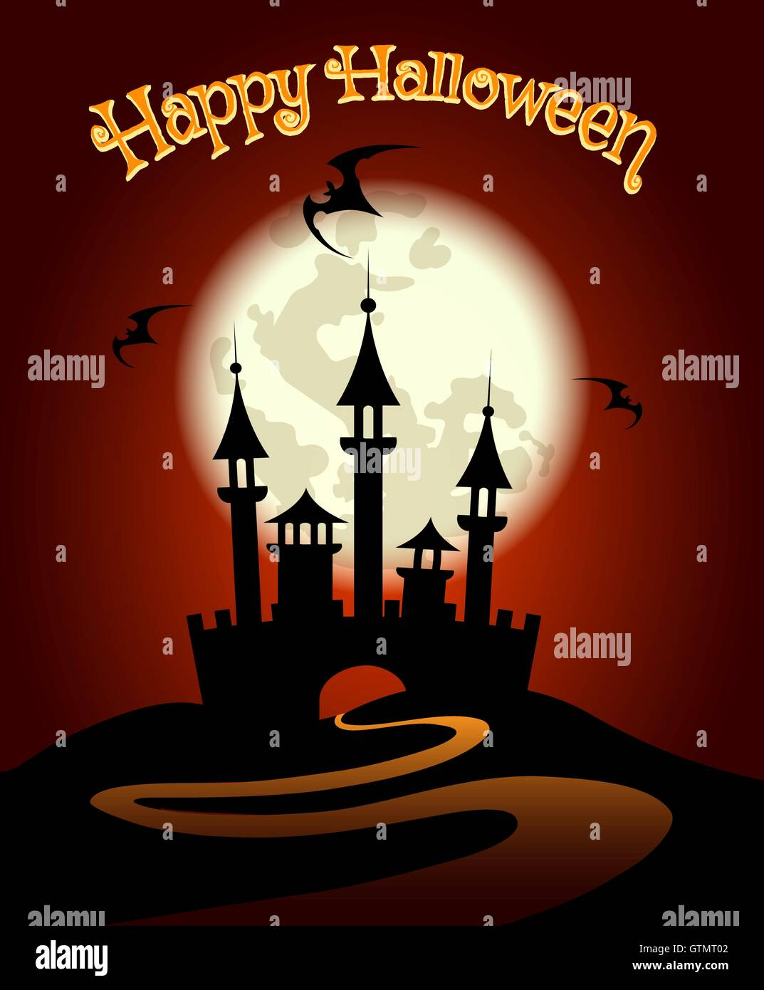 Halloween Background or Invitation Poster. Dark castle and Flying ...