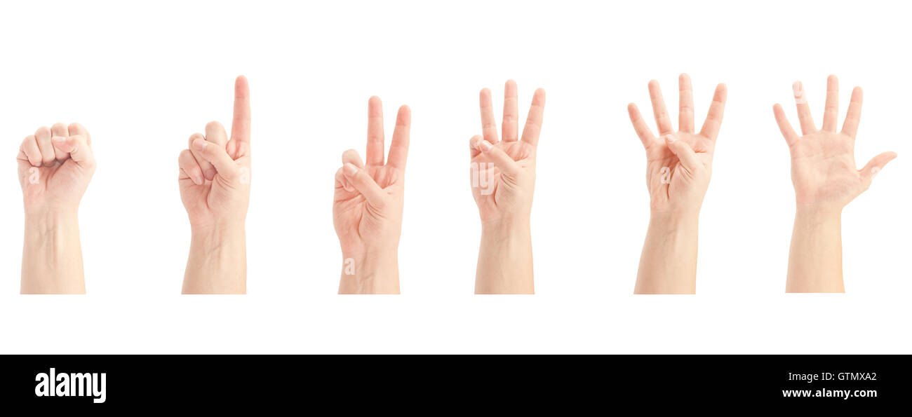 Counting man hands (0 to 5) isolated on white background - Stock Image