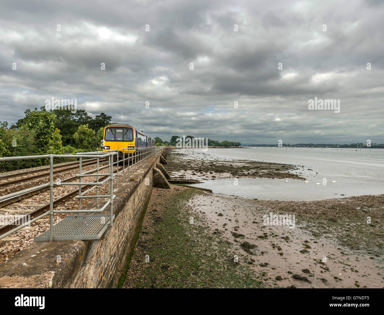 Landscape depicting picturesque First Great Western Riviera railway line along River Exe at Powderham, with approaching - Stock Image