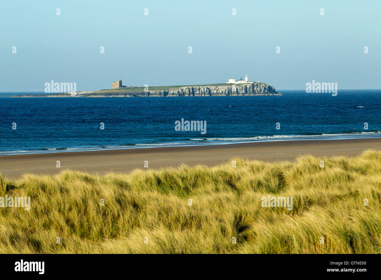view of Inner Farne island from Bamburgh, Northumberland, England Stock Photo