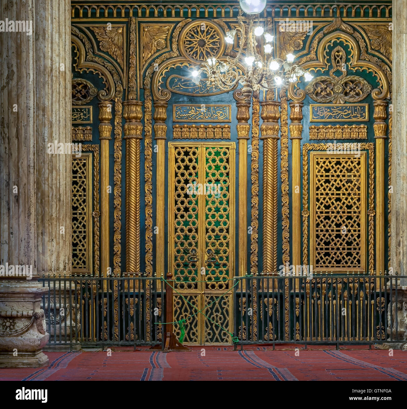 Cairo, Egypt - January 10, 2016: Tomb (Shrine) of Muhammad Ali Pasha with golden decorations, Alabaster Mosque, - Stock Image