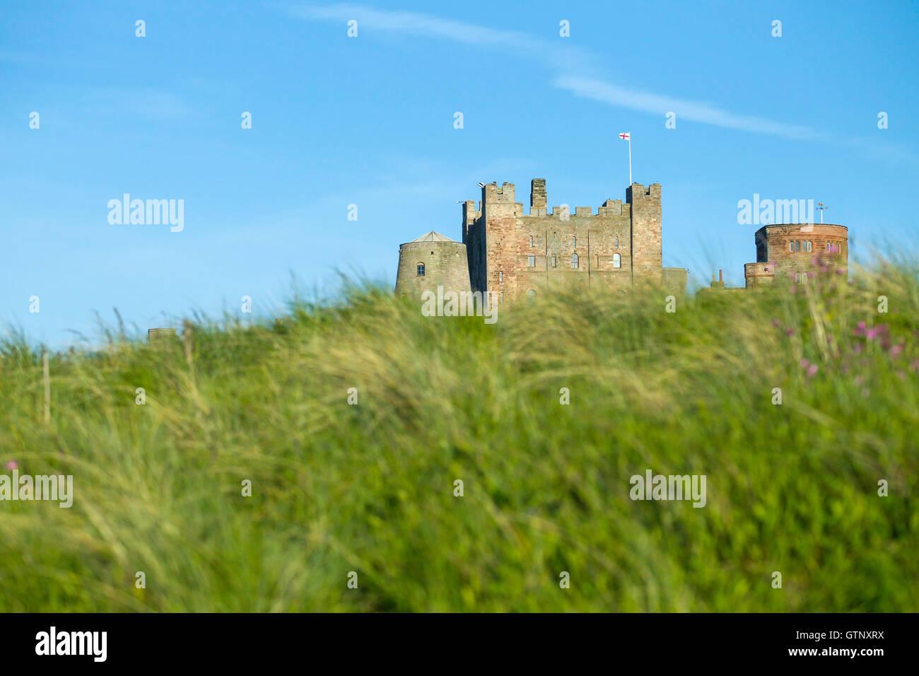 view of Bambugh Castle, Bamburgh, Northumberland, England - Stock Image
