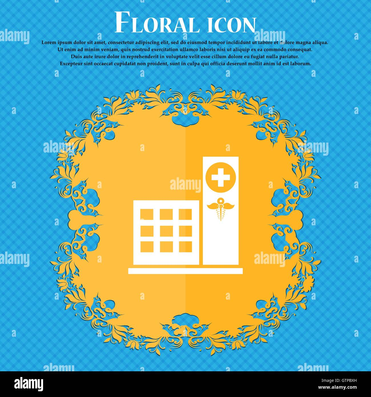 Hospital icon icon. Floral flat design on a blue abstract background with place for your text. Vector - Stock Image