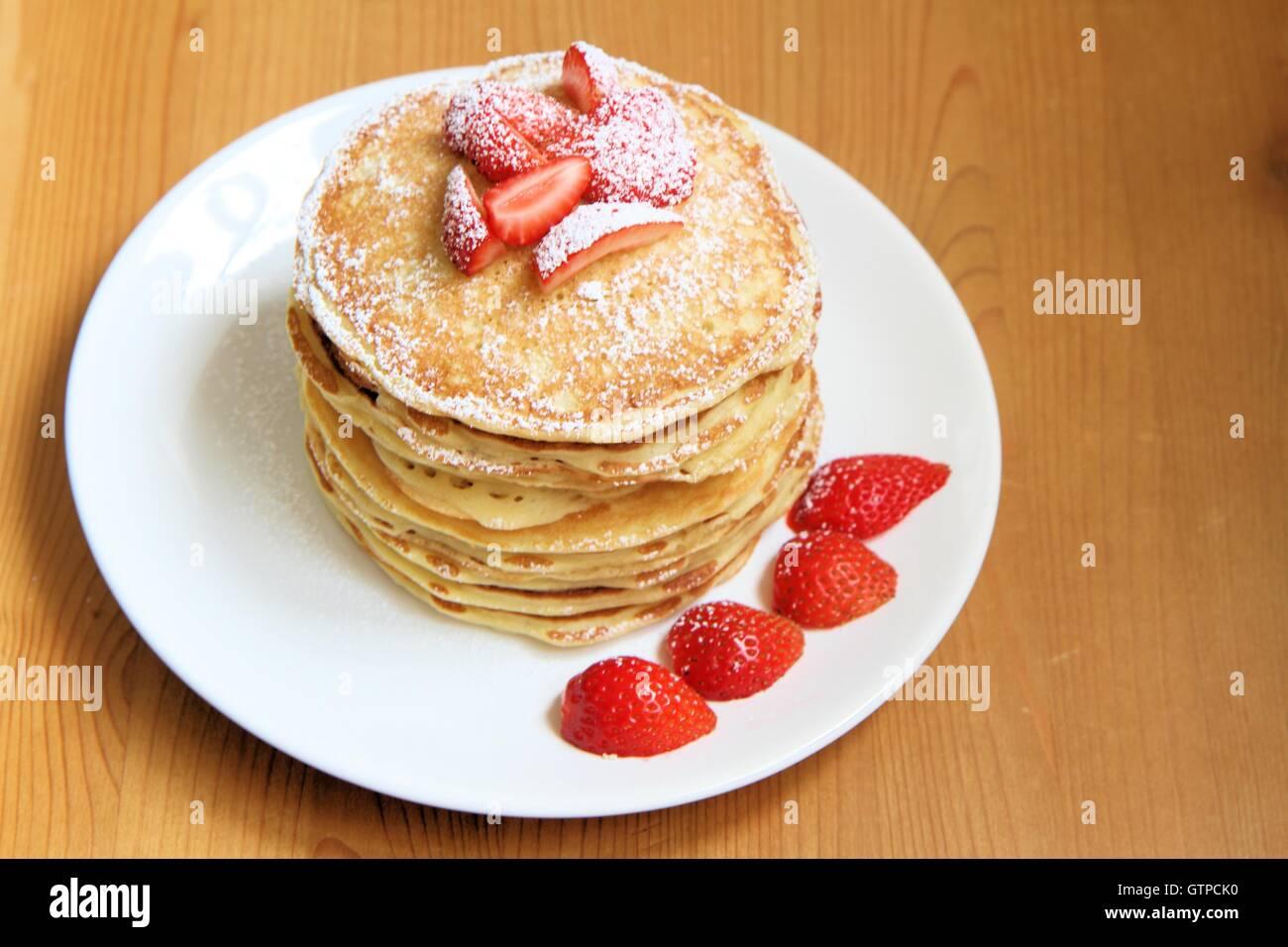 Strawberry pancakes - Stock Image