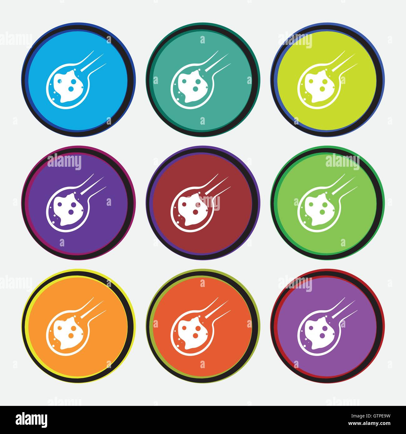 Flame meteorite icon sign. Nine multi colored round buttons. Vector - Stock Image