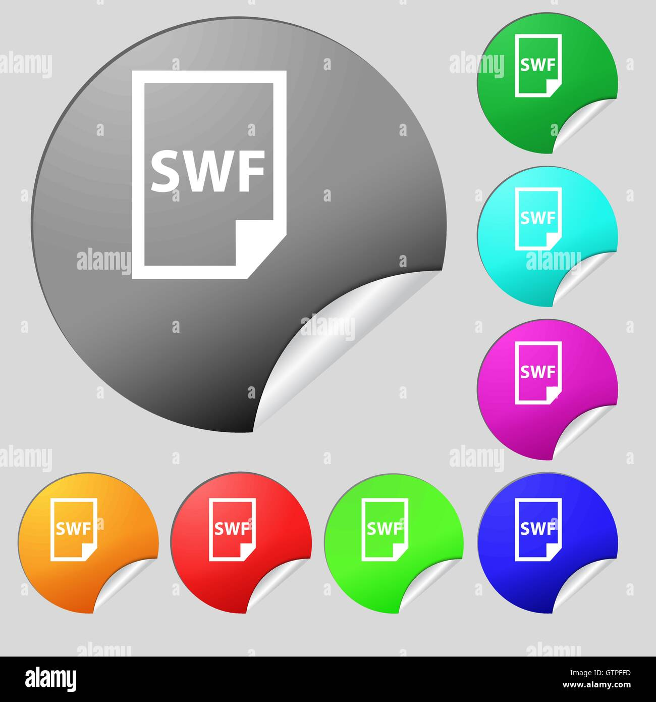 SWF File icon sign  Set of eight multi colored round buttons Stock