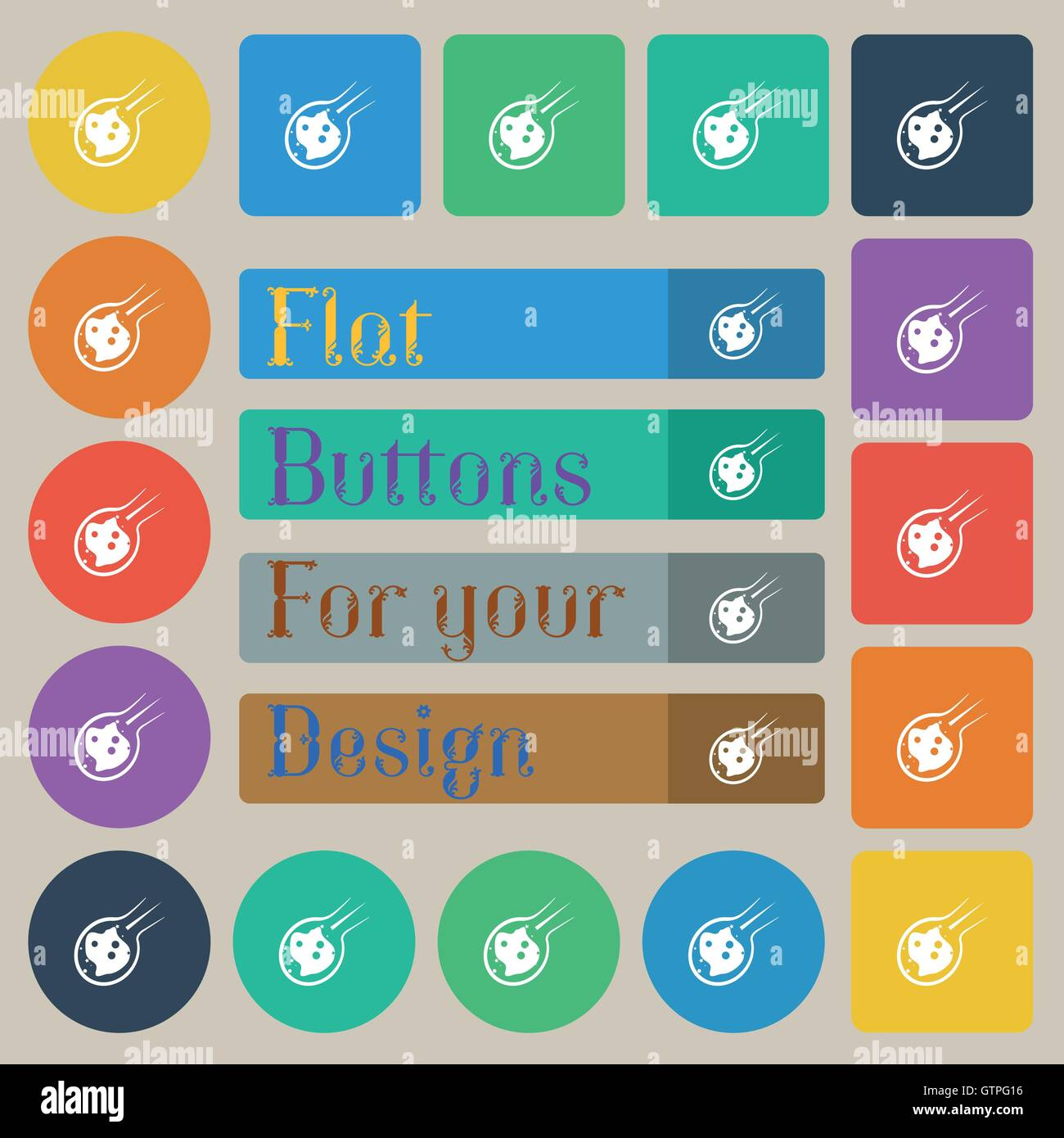 Flame meteorite icon sign. Set of twenty colored flat, round, square and rectangular buttons. Vector - Stock Image