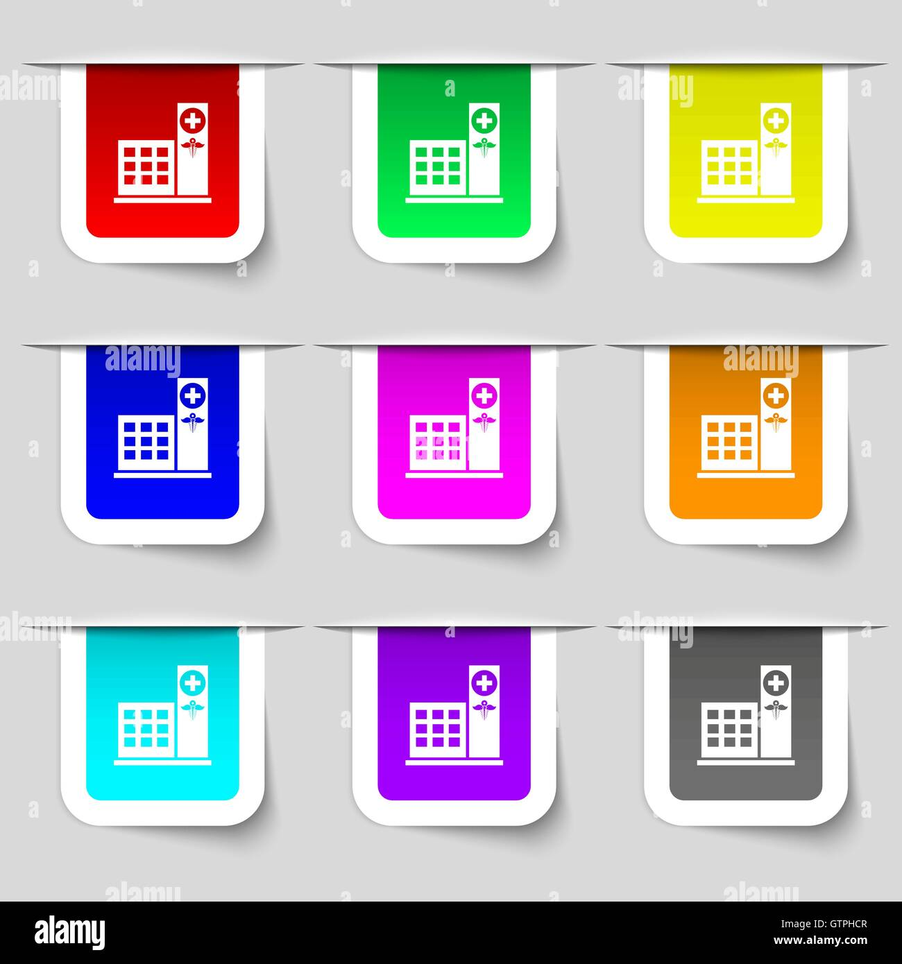 Hospital icon sign. Set of multicolored modern labels for your design. Vector - Stock Image