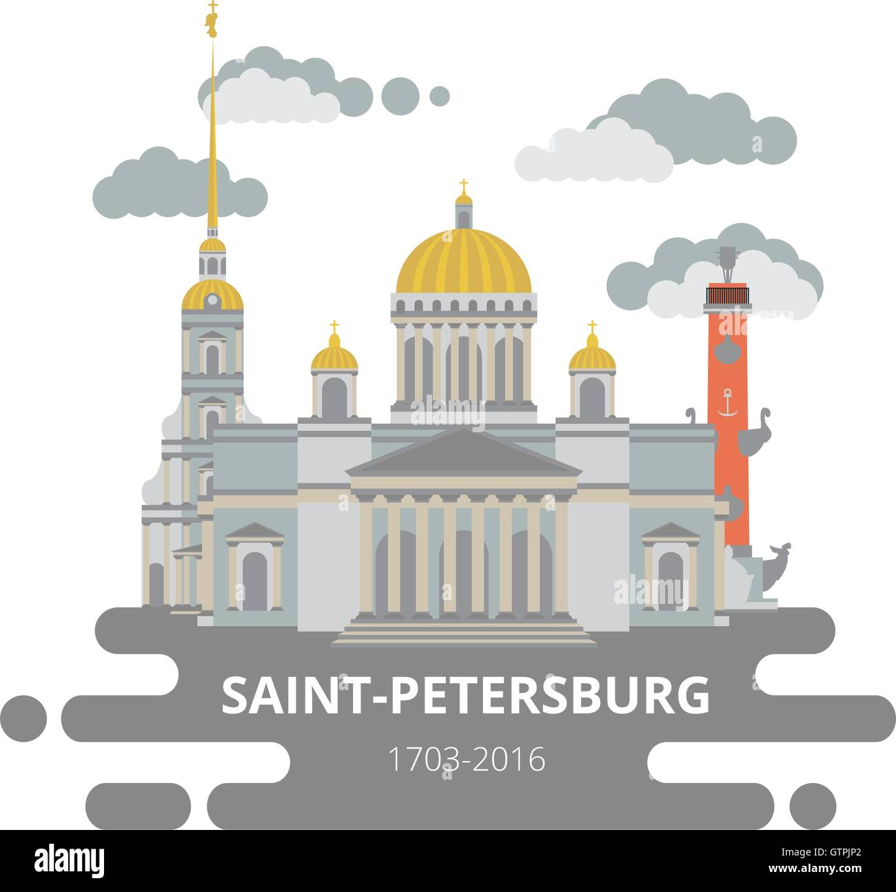 Saint-Petersburg flat cityscape. Vector set for travel infographics. Use this vector illustration for design your - Stock Vector