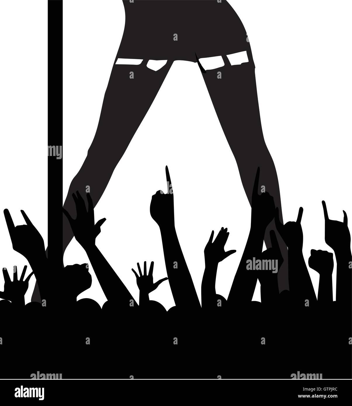 A female pole dancer entertaining an enthusiastic audience - Stock Vector