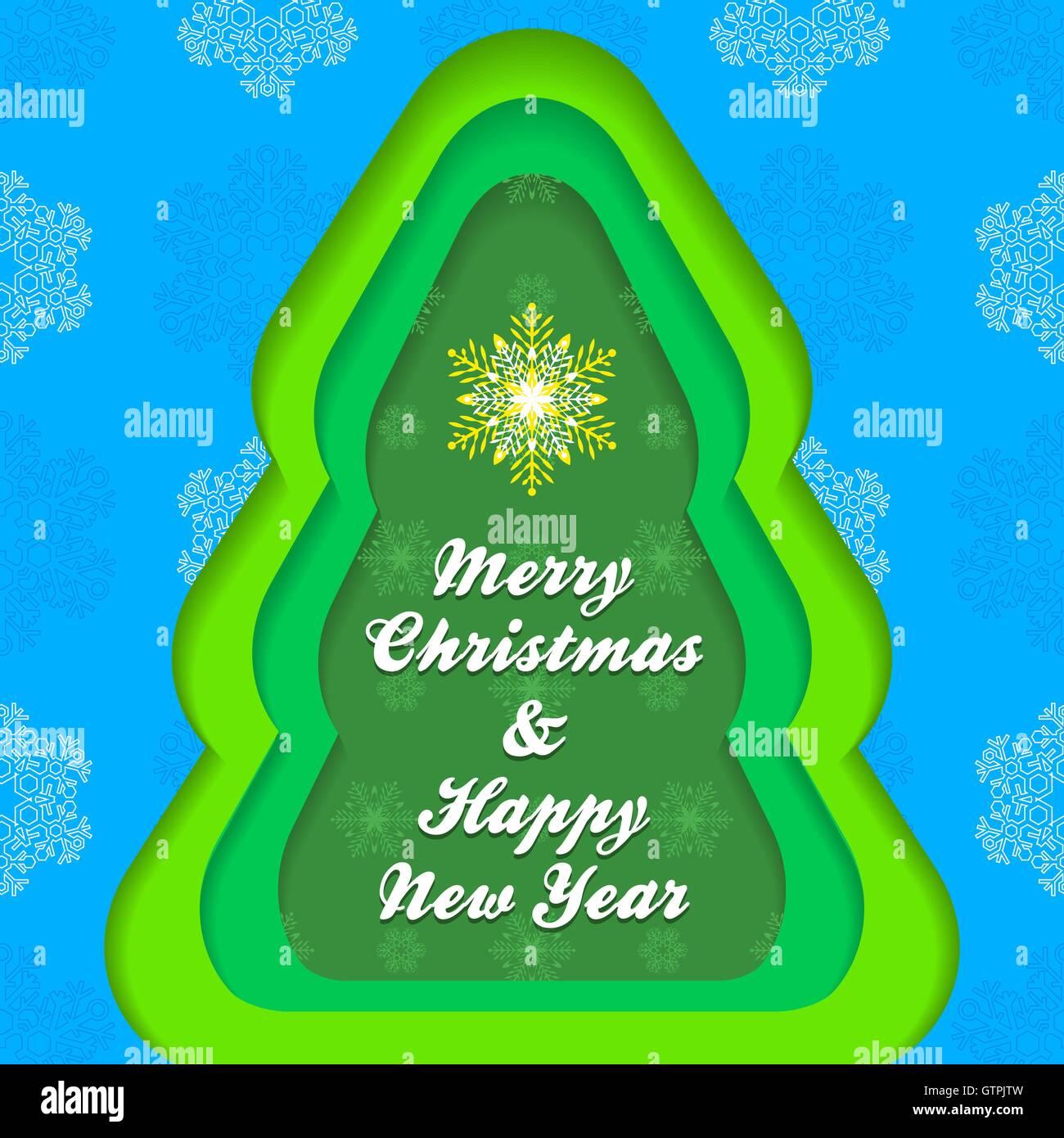 Vector Blue Green Colours Minimal Design Christmas Tree Shape New