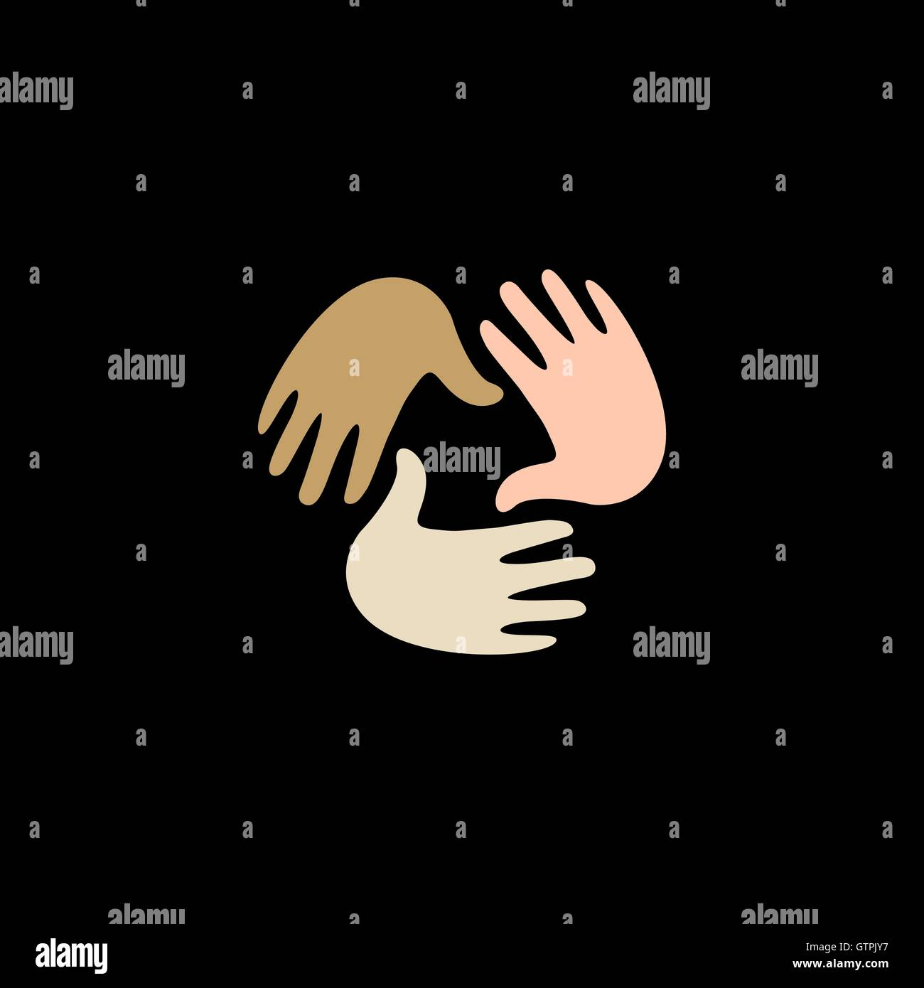 Isolated vector hands logo. Orphanage emblem. Family sign. Children care image. Adoption illustration. Child raising Stock Vector