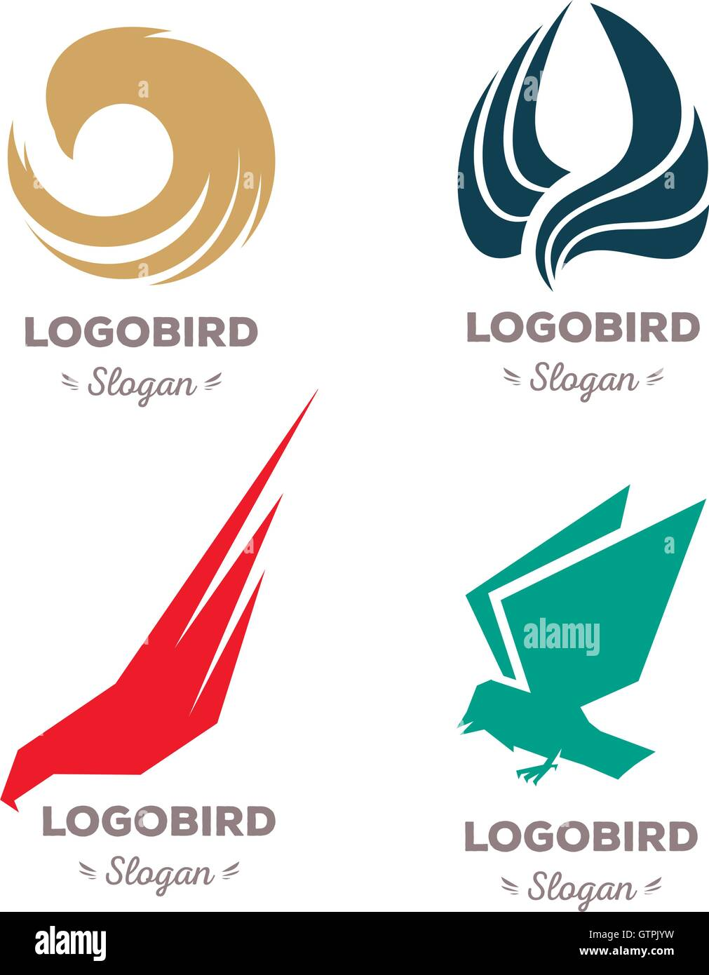 Isolated colorful flying birds vector logo set. Animal logotypes collection. - Stock Vector