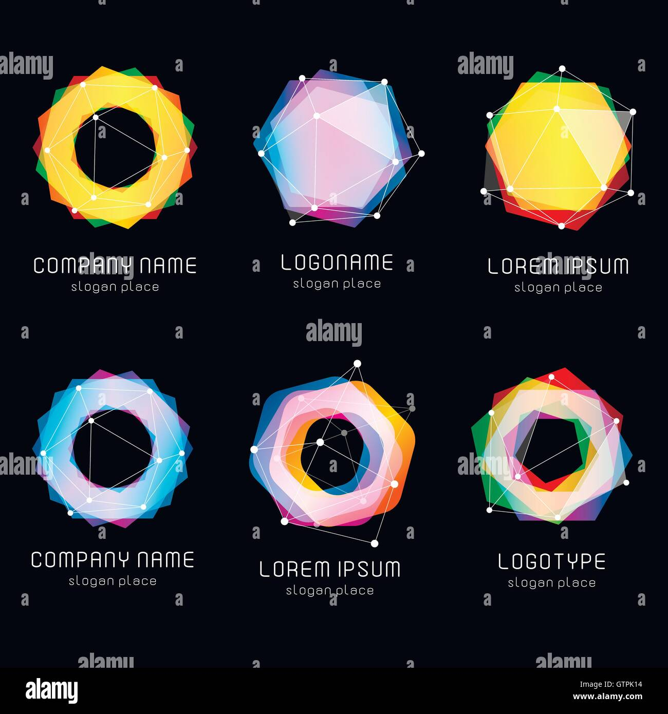 Unusual abstract geometric shapes vector logo set. Circular, polygonal colorful logotypes collection on the black - Stock Image