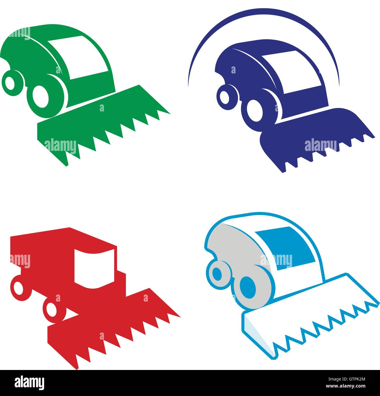 Isolated colorful combine vector logo set. Agricultural equipment logotypes. - Stock Vector
