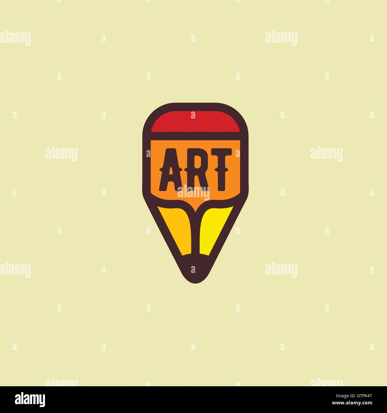 Isolated Wooden Orange Pencil Vector Logo Cartoon Drawing Equipment