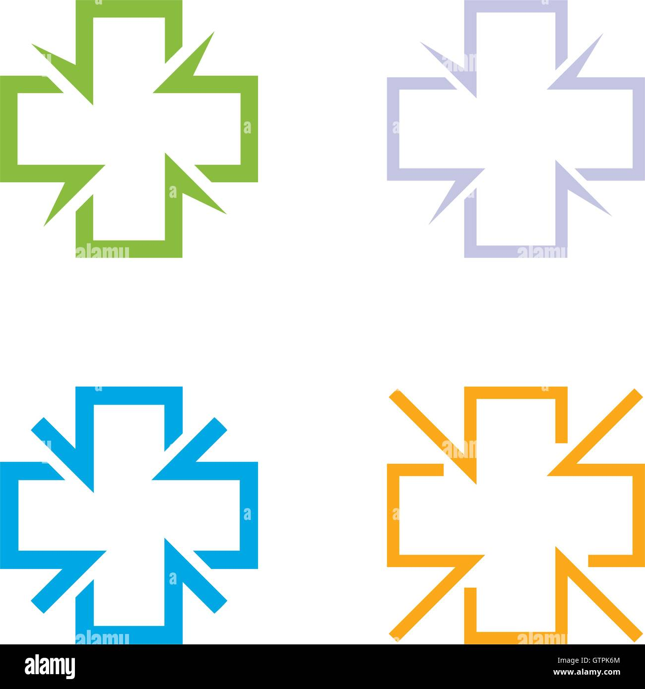 Isolated colorful cross vector logo set. Medical signs contour logotypes collection. Hospital symbols group on the - Stock Image