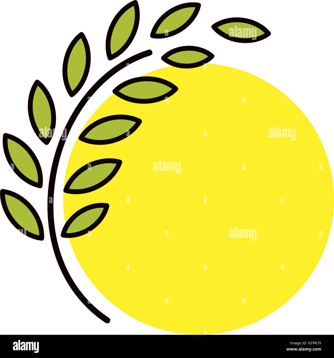 Isolated round shape abstract agricultural vector logo. Wheat ear with sun silhouette logotype. Farm icon. Harvesting - Stock Vector