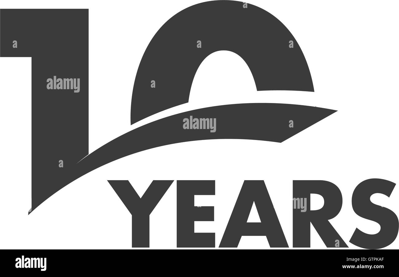 Isolated abstract 10 years anniversary vector logo. Happy 10th birthday greeting card. Black color writing on the - Stock Vector