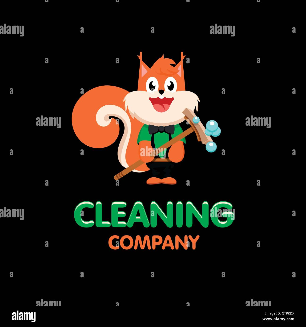 Isolated orange squirrel with mop vector logo. Cleaning company business emblem. - Stock Vector