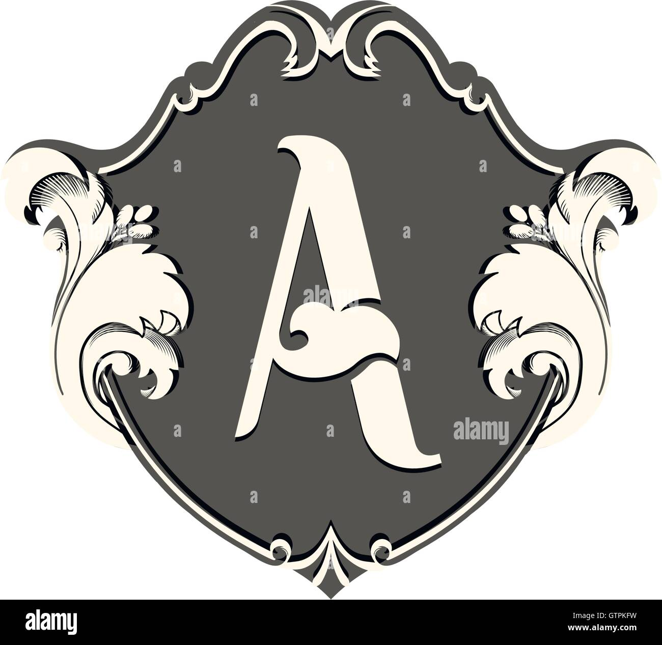 Isolated White Color Letter A In A Black Frame Vector Logo Alphabet