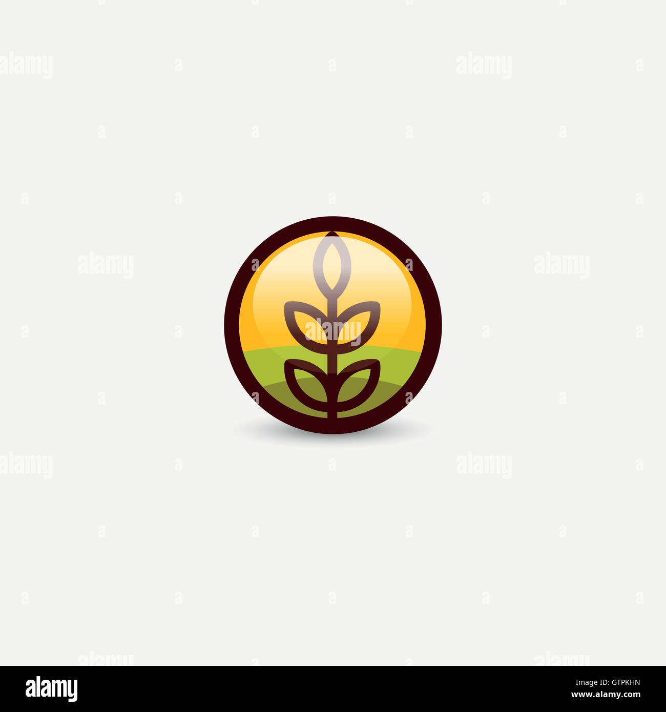 Isolated round shape abstract agricultural vector logo. Wheat ear silhouette logotype. Farm icon. Harvesting illustration. - Stock Vector