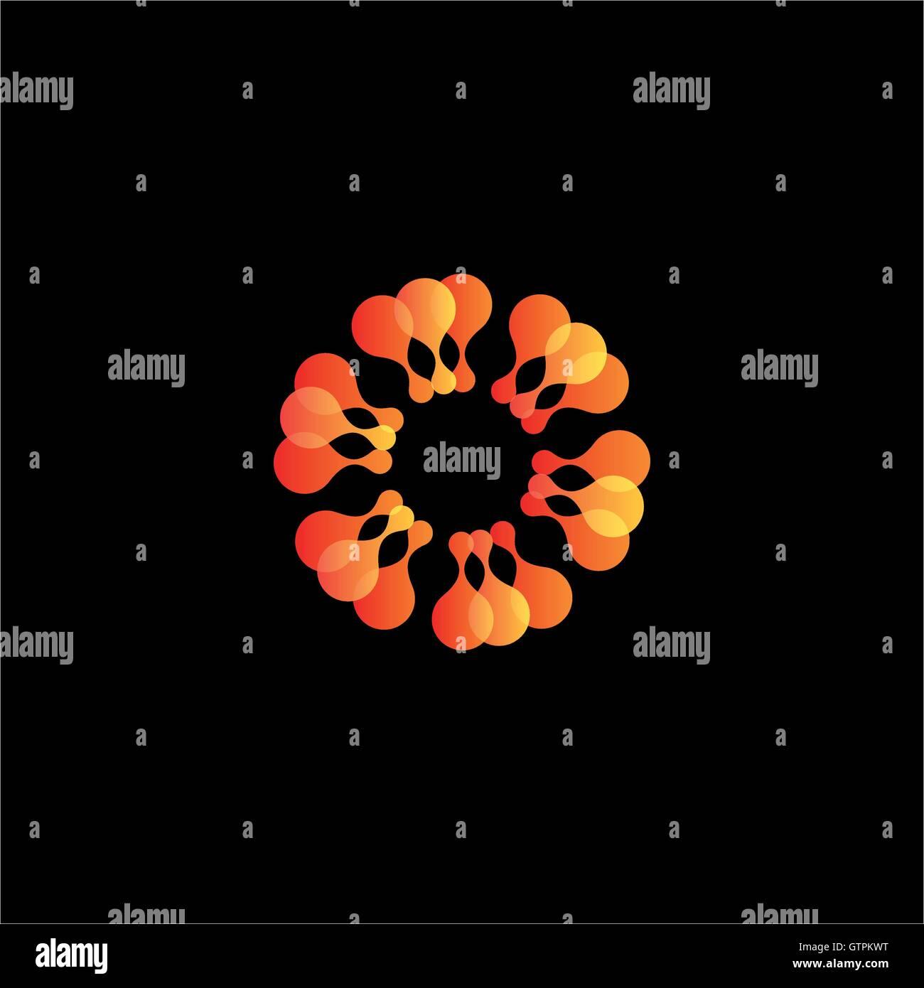 Isolated abstract orange flower vector logo. Sun illustration. Stock Vector