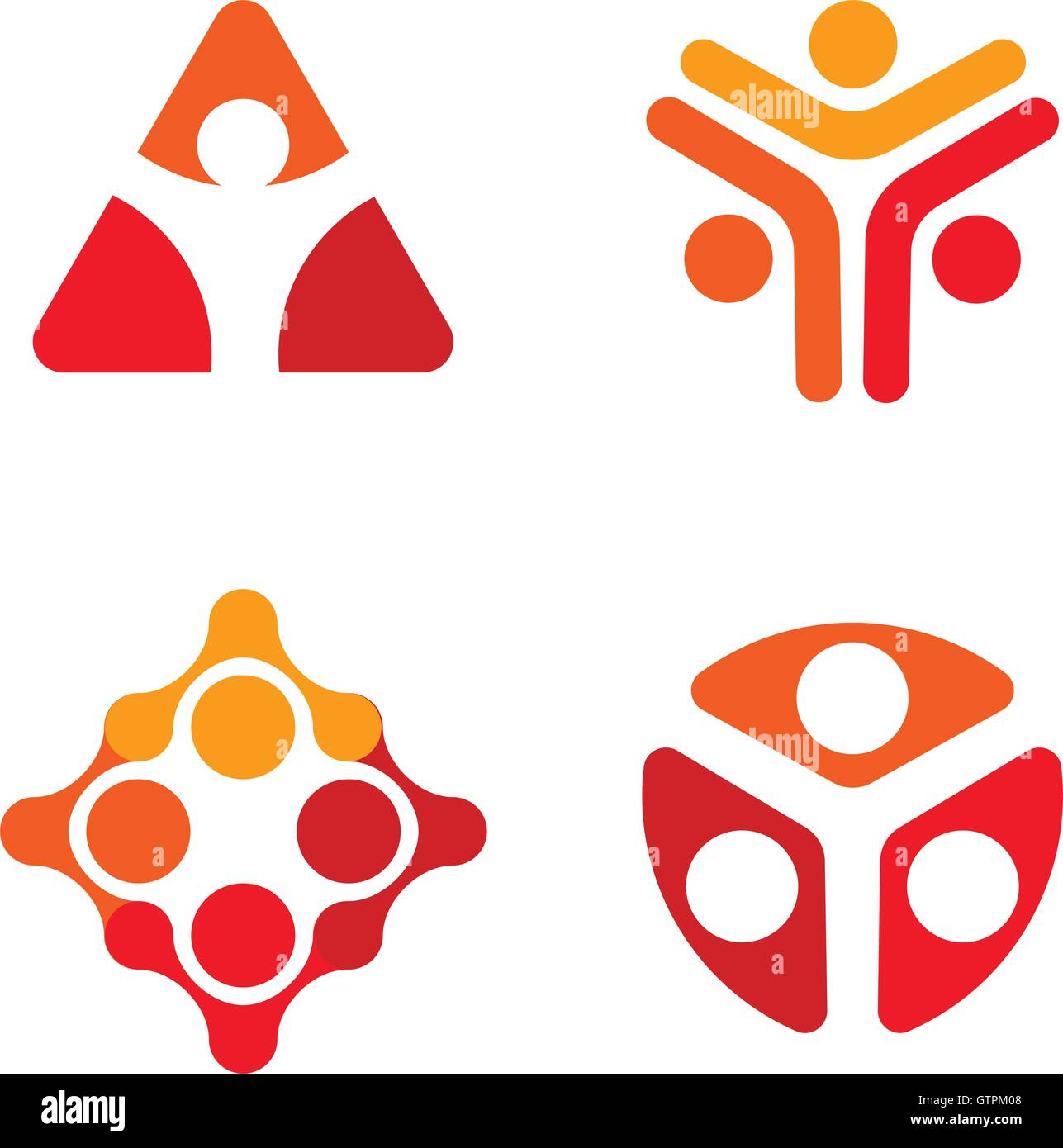 Isolated red and white color decorative vector logo set. Unusual human silhouette logotypes collection. Geometric - Stock Image