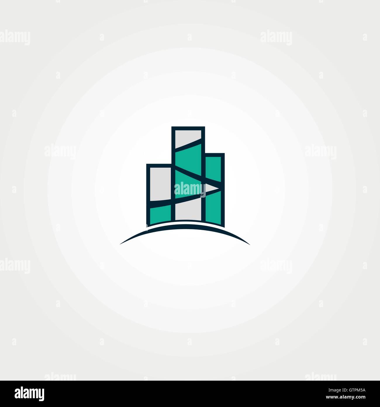 Real estate vector logo. Turquoise color logo template. Building icon. - Stock Vector