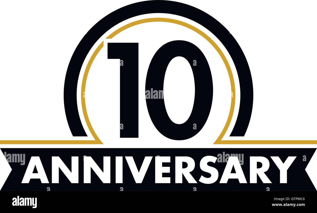 Anniversary vector unusual label. Tenth anniversary symbol. 10 years birthday abstract logo. The arc in a circle. - Stock Vector