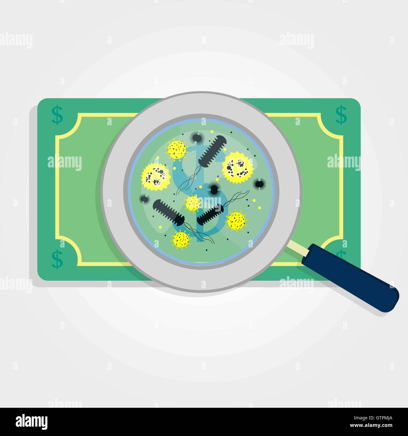 money with virus and bacteria enlarged by a magnifying glass stock vector art illustration