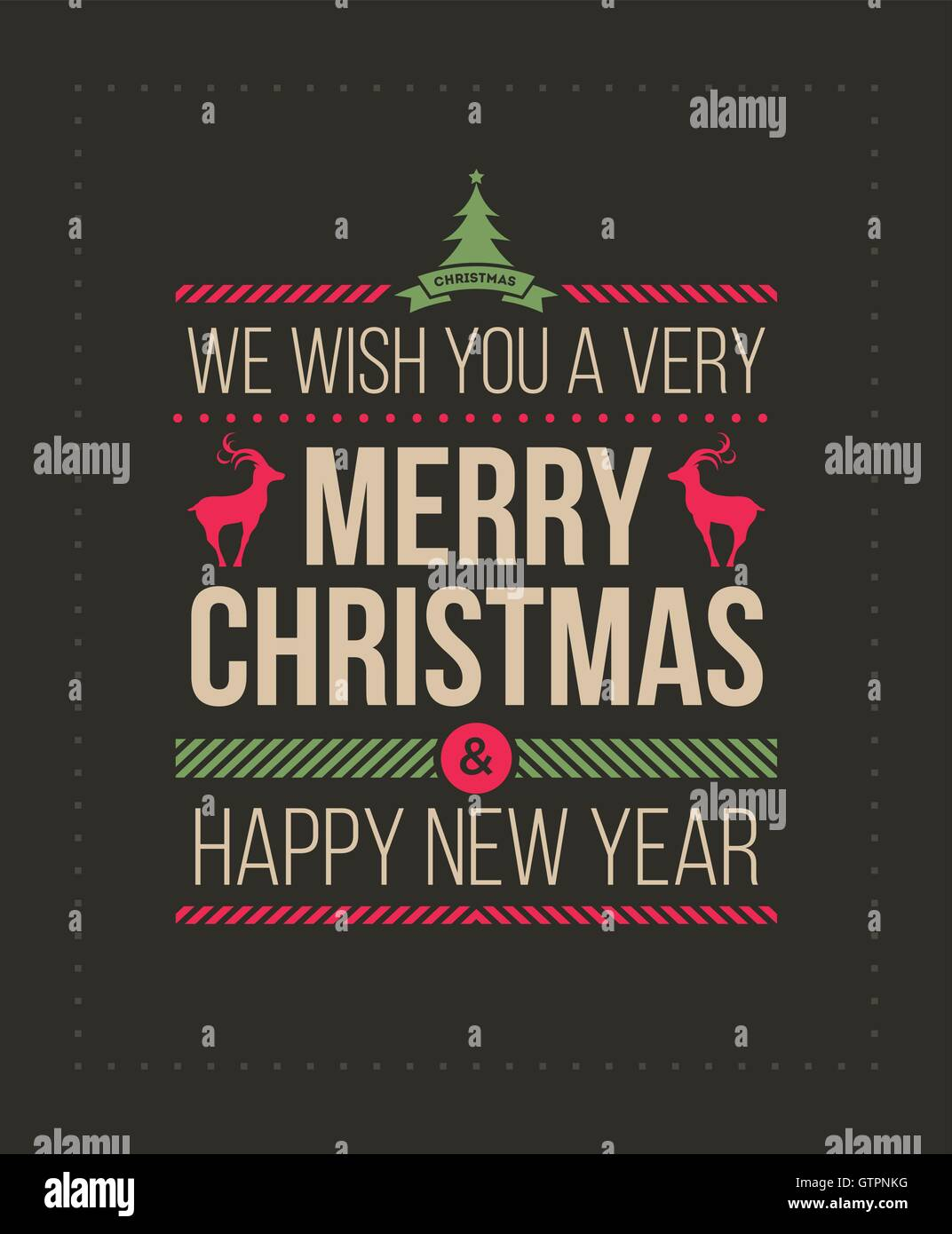 Christmas And New Year Greeting Card Design Template Vector Stock